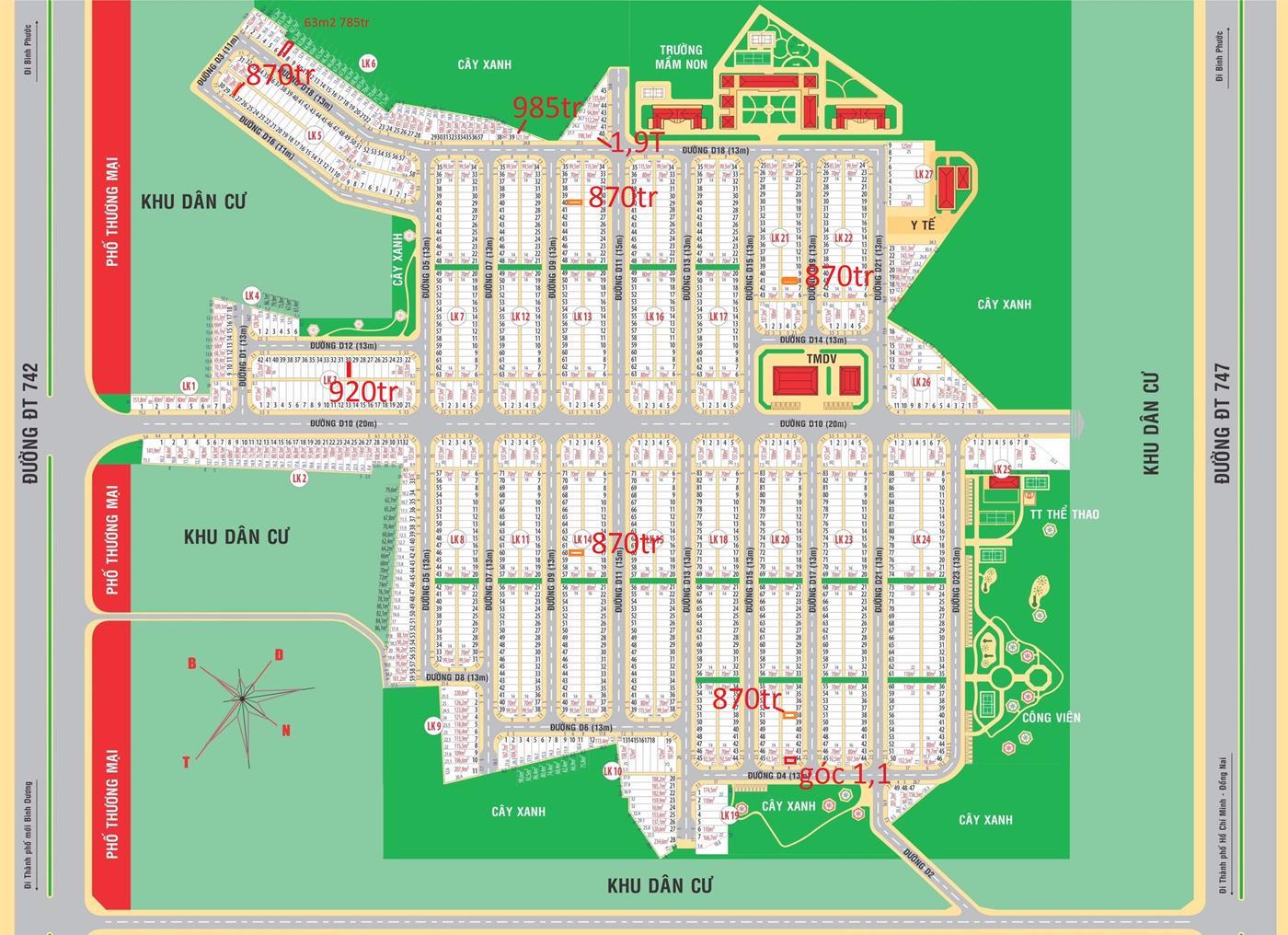 Lô góc LK6 - ô 40 giá rẻ 2tỷ1 (chưa chiết khấu) 198m2 gần đại học quốc tế Miền Đông